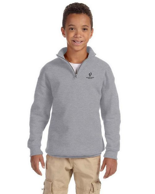 Jerzees 995Y Youth 50/50 NuBlend Quarter-Zip Cadet Collar Sweatshirt