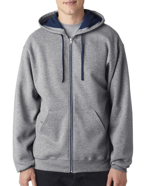 Jerzees J93 Adult NuBlend Contrast Full Zip Hooded Sweatshirt