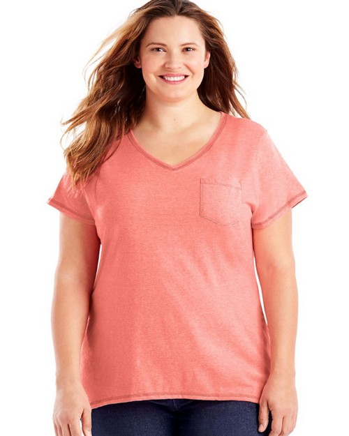 Just My Size OJ225 X-Temp Short-Sleeve V-Neck Womens Pocket Tee