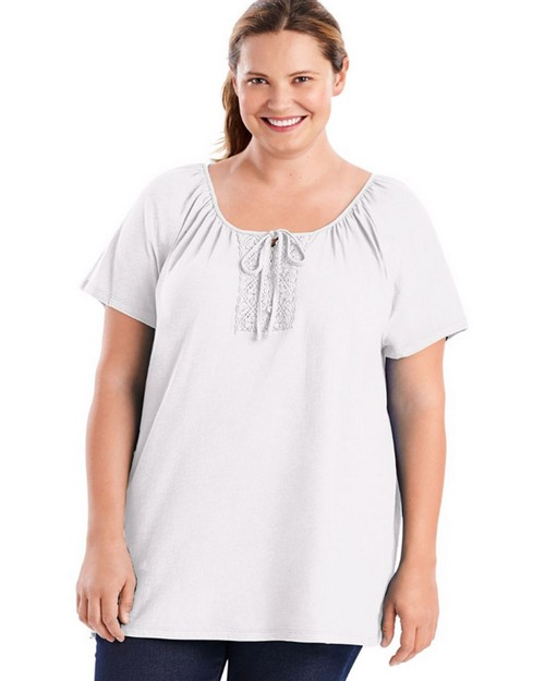Just My Size OJ250 Short-Sleeve Slub-Textured Cotton Crochet Trim & Tie Womens Tunic