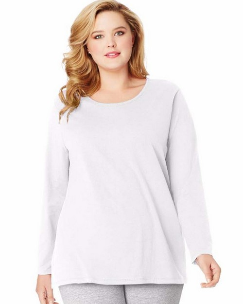 Just My Size OJ288 Long-Sleeve Scoop-Neck 100% Cotton Womens Tee
