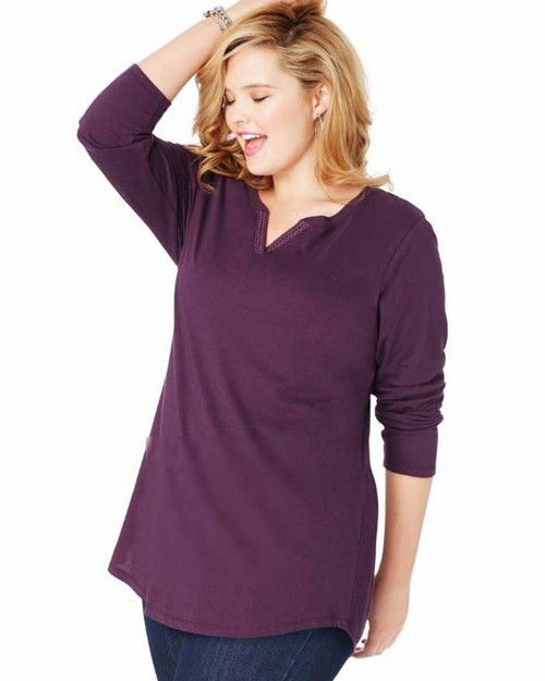 Just My Size OJ331 JMS Lightweight Split Neck Tunic