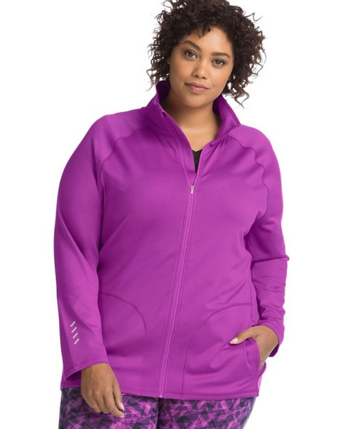 Just My Size OJ906 Womens Active Full Zip Mock Neck Jacket