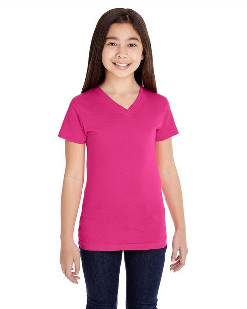 Lat 2607 Girls V-Neck Fine Jersey T-Shirt