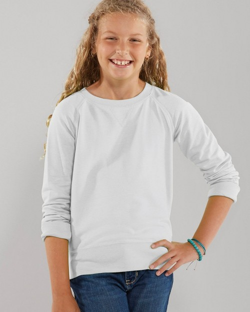 Lat 2652 Girls Lightweight French Terry Slouchy Pullover