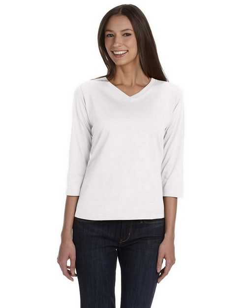 LAT 3577 Womens Ringspun V-Neck 3/4-Sleeve T-Shirt