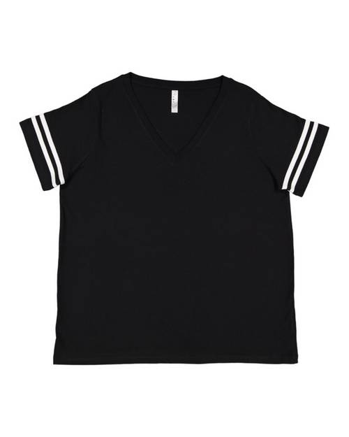 Lat 3837 Ladies Curvy Football Premium Jersey T-Shirt