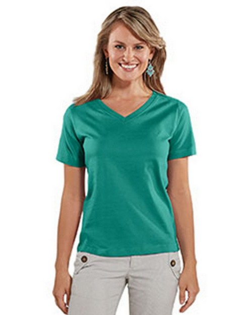 Lat L-3587 Ladies Combed Ringspun Jersey V-Neck T-Shirt
