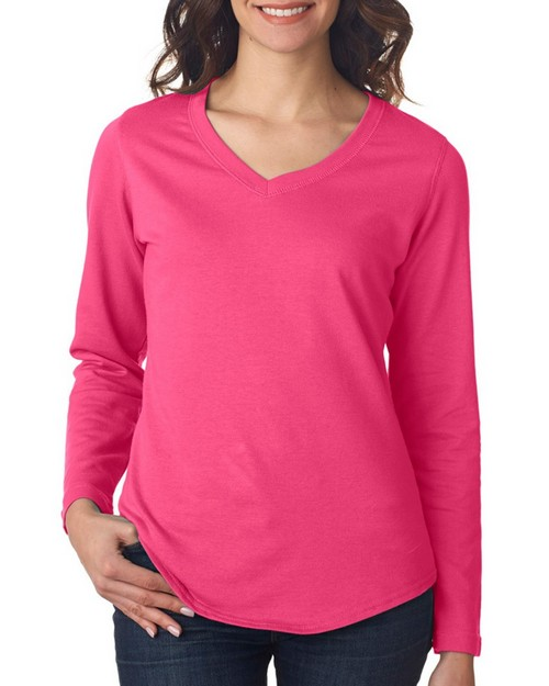 Lat L3761 Ladies Lightweight French Terry V Neck Pullover