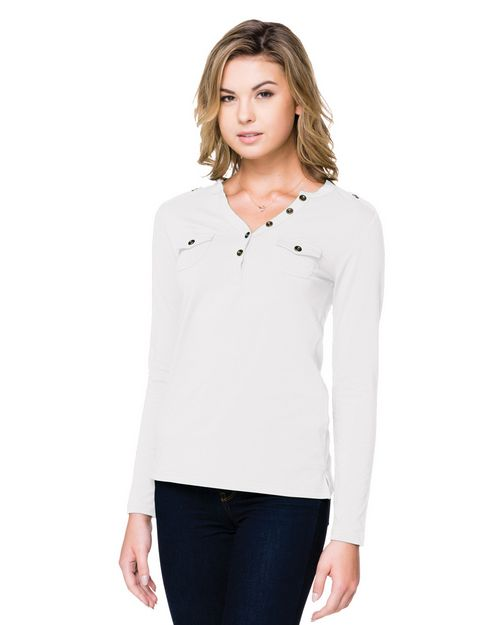 Lilac Bloom LB144 6.7 Oz. Long Sleeve Open Henley