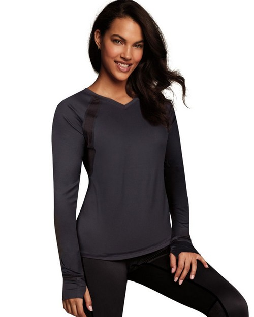 Maidenform MFBLAV Womens Baselayer Active V-Neck Top