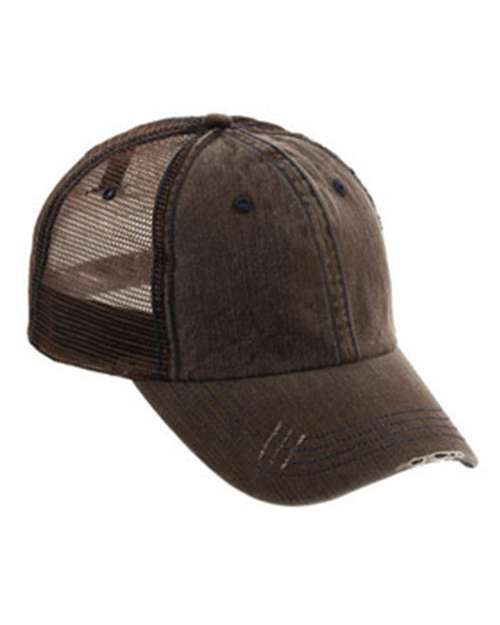 Mega Cap 6990 Herringbone Cotton Twill Trucker Cap