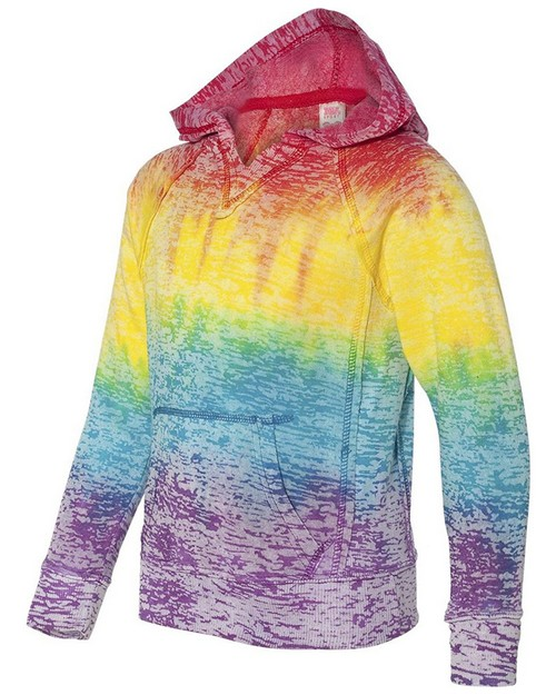 Mv Sport W1162Y Girls Courtney Burnout V-Notch Pullover Hood
