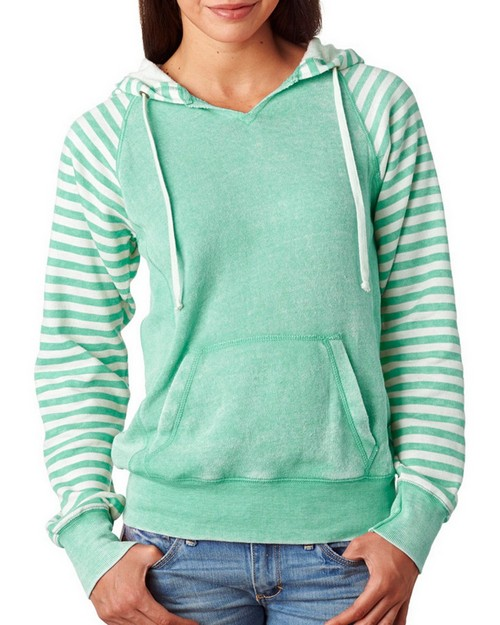 MV Sport W15106 Ladies Angel Fleece Sanded Piper Striped Hooded Pullover