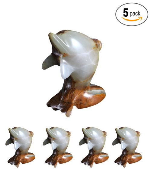 Natures Artifacts Multi-Green Onyx Spirit Animal - Dolphin 2 Inch  (set of 5 pcs)