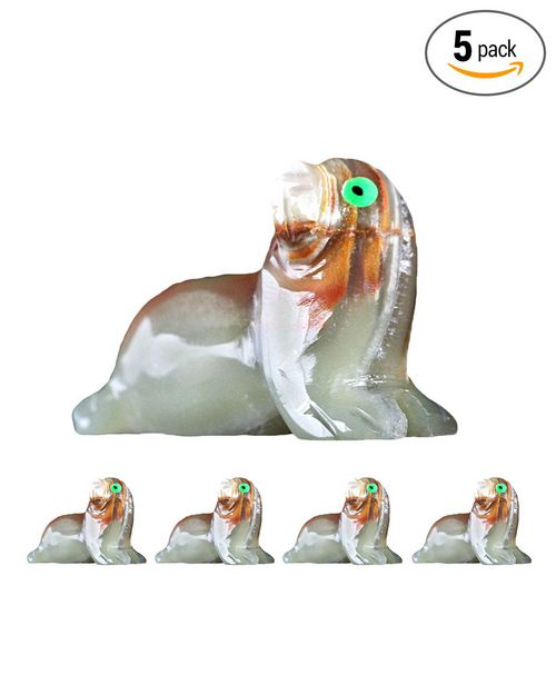 Natures Artifacts Multi-Green Onyx Spirit Animal - Seal 2 Inch  (Set of 5 pcs)