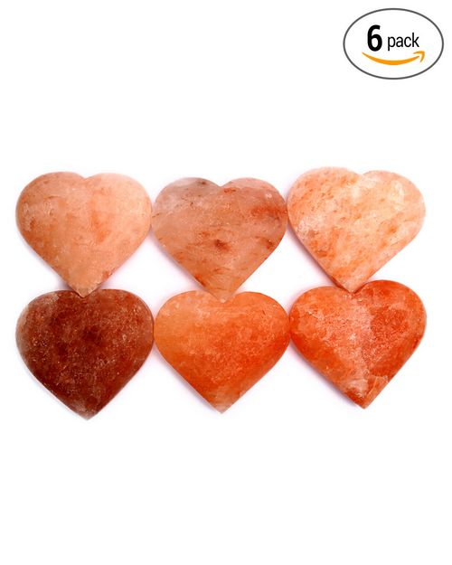 Himalayan Rock Salt Heart Shaped Massage Stone ( Pack of 6 ) - For Personal Care