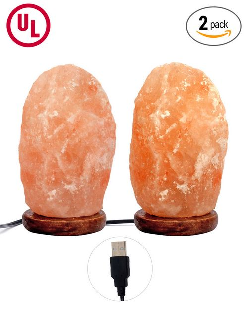 Natures Artifacts Himalayan Rock Salt USB Natural Lamp - Yellow Light -Pack of 2