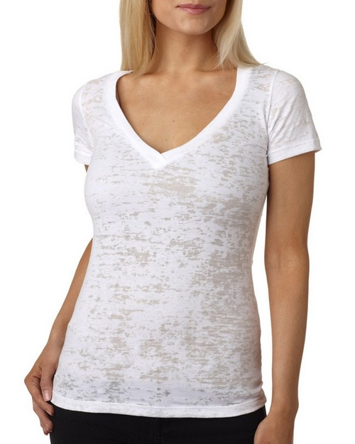 Next Level 6540 Ladies Burnout Deep V Tee