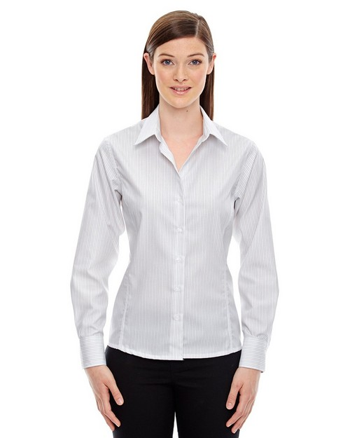 North End Sport Blue 78674 Boardwalk Ladies Cotton Striped Taped Shirt