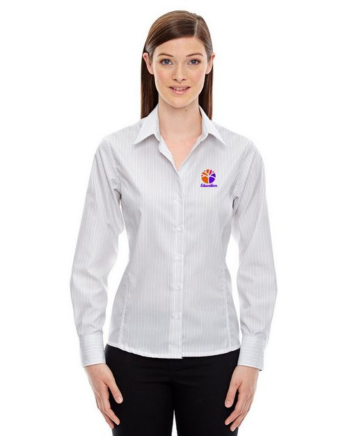 North End 78674 Boardwalk Ladies Cotton Striped Taped Shirt