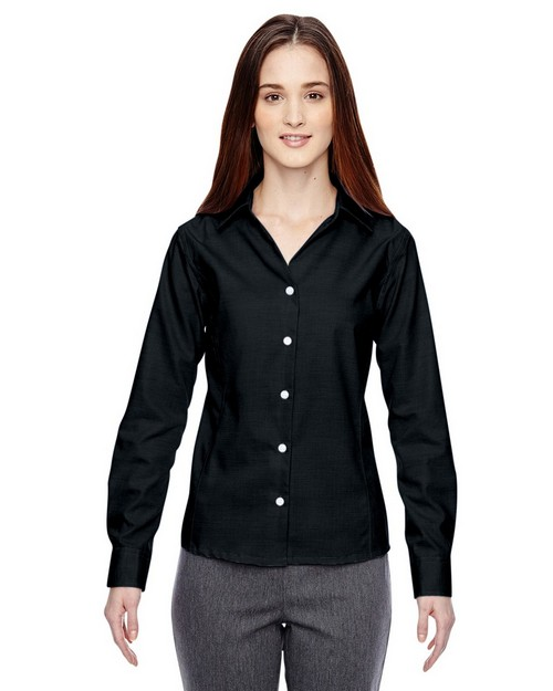 North End 78690 Precise Ladies Cotton Dobby Taped Shirt