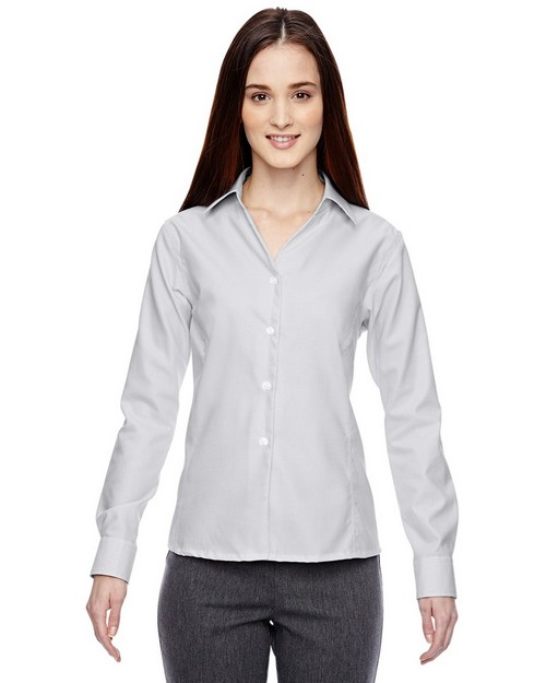 North End Sport Blue 78690 Precise Ladies Cotton Dobby Taped Shirt