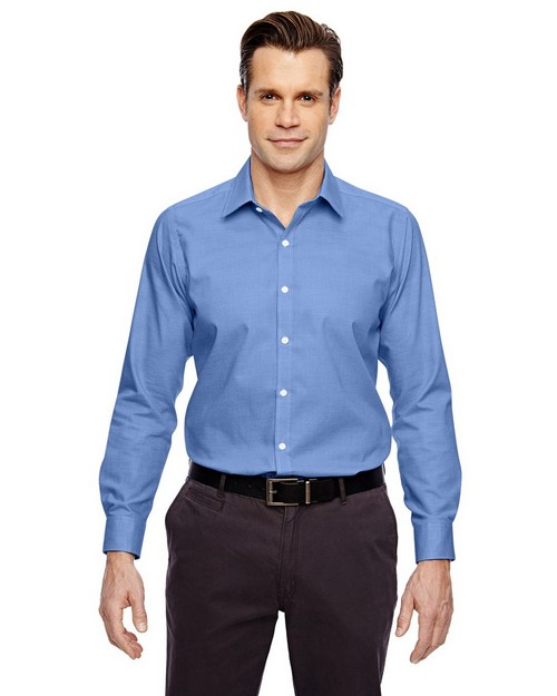 North End Sport Blue 88690 Precise Mens Cotton Dobby Taped Shirt
