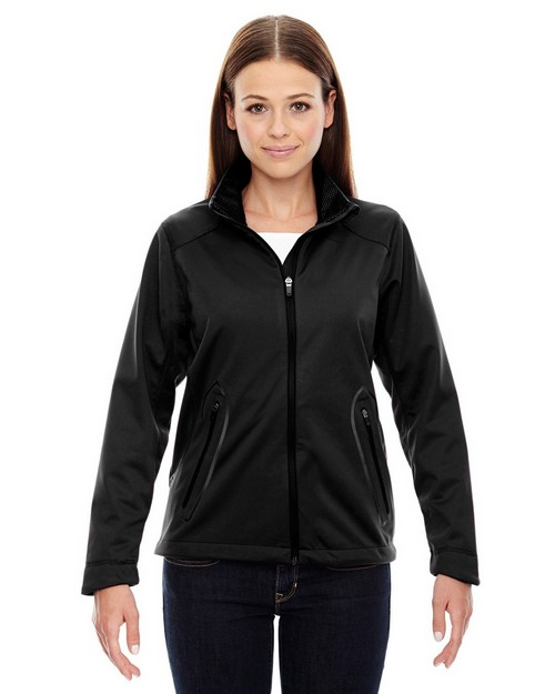 North End Sport Red 78655 Ladies' Splice Three-Layer Light Bonded Soft Shell Jacket with Laser Weldi