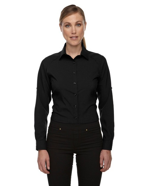 North End 78804 Ladies' Rejuvenate Performance Shirt with Roll-Up Sleeves