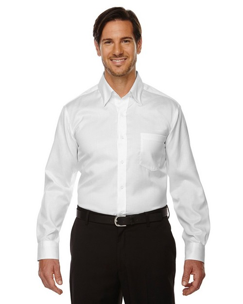 North End Sport Red 88635 Men's Legacy Wrinkle-Free Two-Ply 80's Cotton Jacquard Taped Shirt