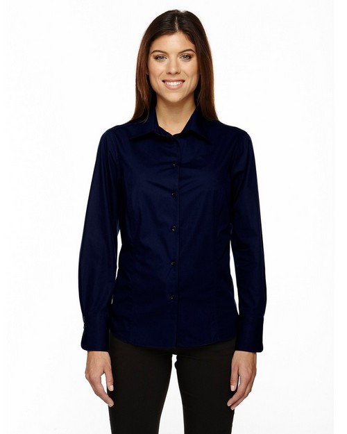 North End 77037 Luster Ladies Wrinkle Resistant Cotton Blend Poplin Taped Shirt