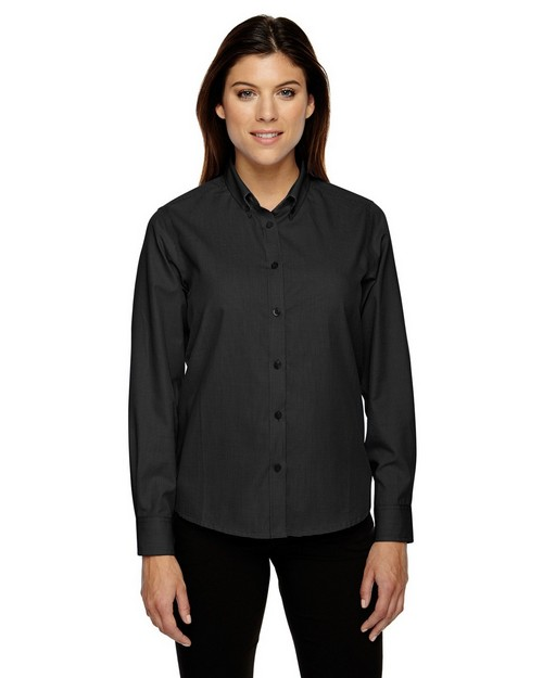 North End 77040 Echelon Ladies Wrinkle Resistant Cotton Blend Houndstooth Taped Shirt