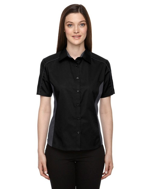 North End 77042 Fuse Ladies Color Block Twill Shirts