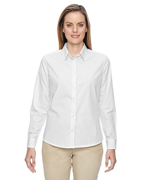 North End 77044 Align Ladies Wrinkle Resistant Cotton Blend Dobby Vertical Striped Shirts