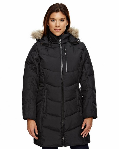 North End 78179 Boreal Ladies Down Jacket With Faux Fur Trim