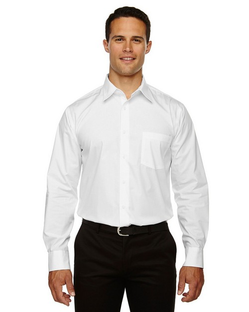 North End 87037 Luster Mens Wrinkle Resistant Cotton Blend Poplin Taped Shirt