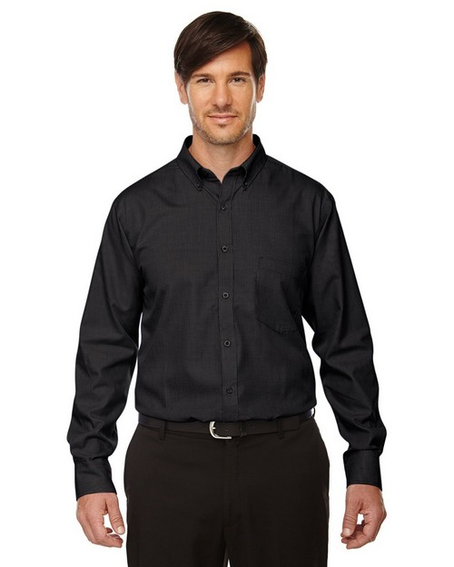 North End 87040 Echelon Mens Wrinkle Resist Cotton Blend Houndstooth Taped Shirt