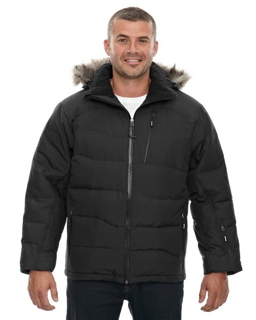 North End 88179 Boreal Mens Down Jacket With Faux Fur Trim