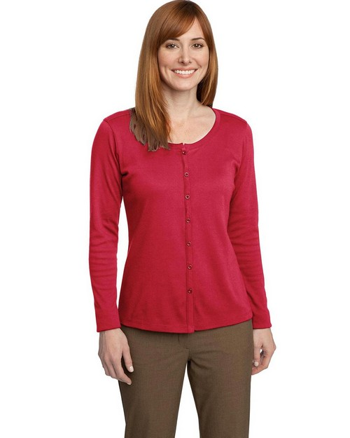 Port Authority L530 Ladies Silk Touch Interlock Cardigan