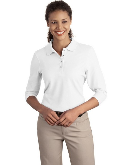 Port Authority L562 Ladies Silk Touch 3/4-Sleeve Polo