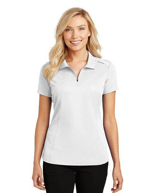 Port Authority L580 Ladies Pinpoint Mesh Zip Polo