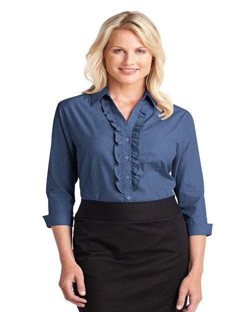 Port Authority L644 Ladies Easy Care Cross Hatch Ruffle Shirt
