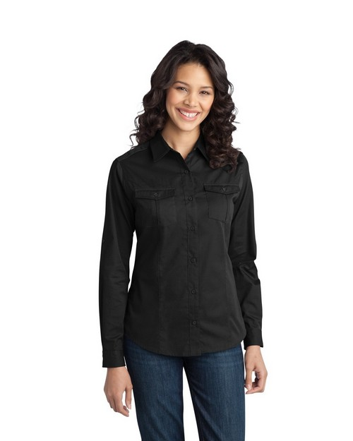 Port Authority L649 Ladies Stain-Resistant Roll Sleeve Twill Shirt