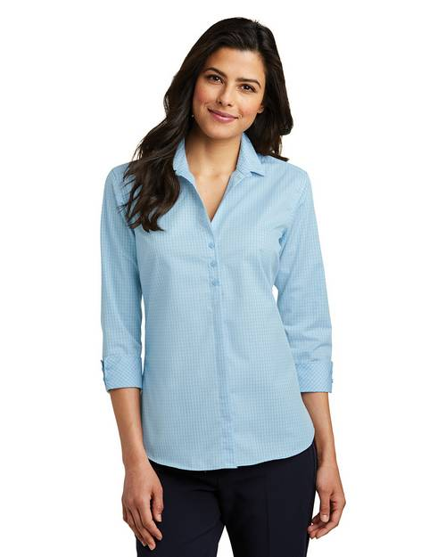 Port Authority LW643 Ladies 3/4-Sleeve Micro Tattersall Easy Care Shirt
