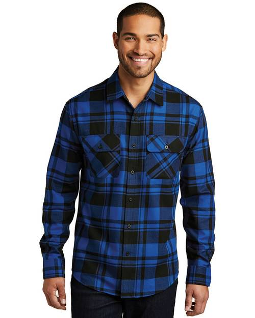 Port Authority W668 Mens Plaid Flannel Shirt