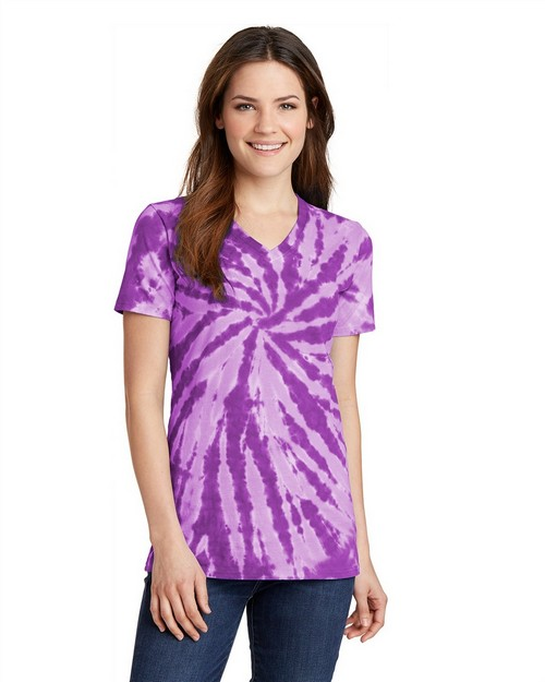 Port & Company LPC147V Ladies Essential Tie-Dye V-Neck Tee