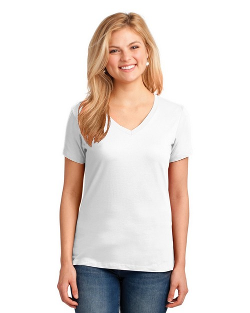 Port & Company LPC54V by Port Authority Ladies 5.4oz 100% Cotton V Neck T Shirt