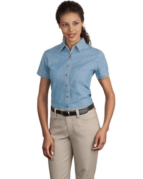 Port & Company LSP11 Ladies Short-Sleeve Value Denim Shirt