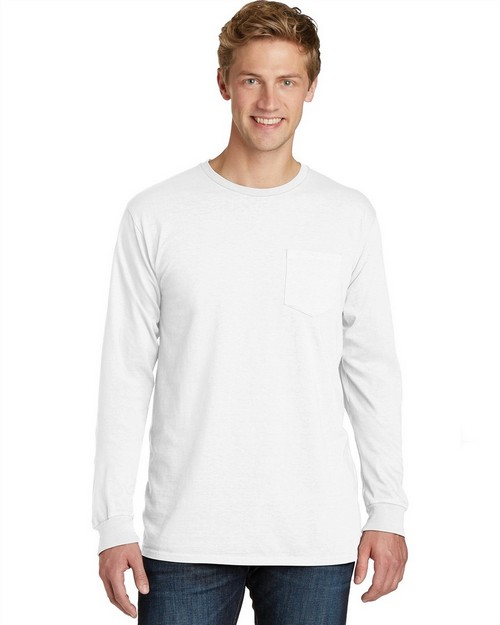 Port & Company PC099LSP Essential Pigment-Dyed Long Sleeve Pocket Tee